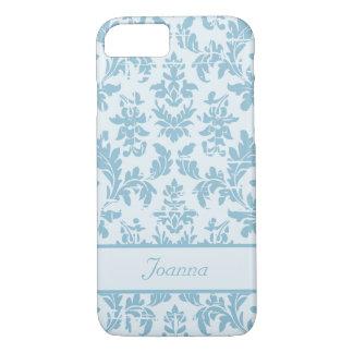 Elegant Slate Blue Damask Customized iPhone 7 Case