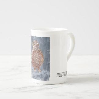 Elegant small owl with gray background mug
