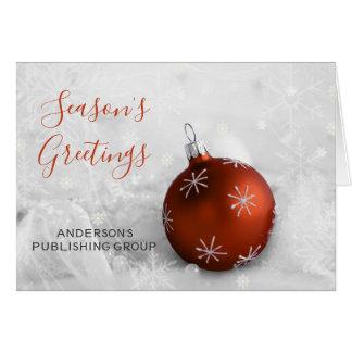 Elegant Snow Scene Orange Ornament Company Holiday Card