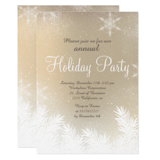 Elegant snowflake gold winter corporate holiday card