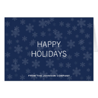 Elegant Snowflake Pattern Corporate Holiday Greeting Card