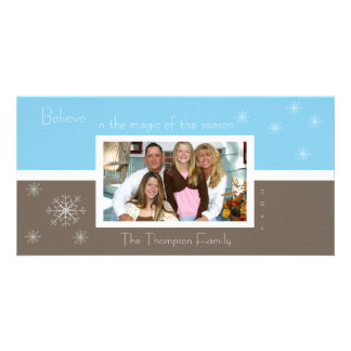 Elegant Snowflake Photo Card (brown-blue)