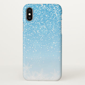 Elegant Snowflakes Blue Background | iPhone X Case
