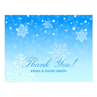 Elegant Snowflakes Blue Winter Wedding Thank You Postcard