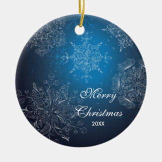 Elegant Snowflakes Dated Merry Christmas Ornament