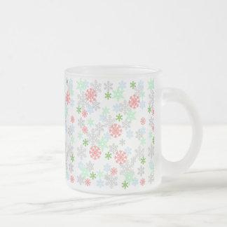 Elegant Snowflakes Frosted Glass Mug