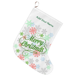 Elegant Snowflakes Large Christmas Stocking