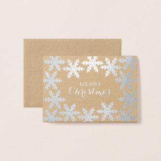 Elegant Snowflakes Merry Christmas Foil Card