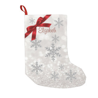 Elegant Snowflakes,Red Bow,Glittery -Personalized Small Christmas Stocking