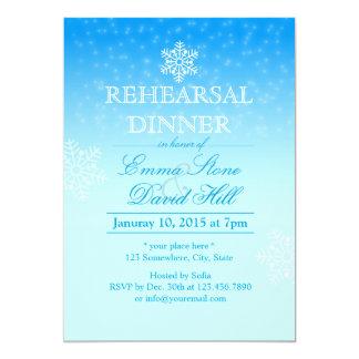 Elegant Snowflakes Winter Wedding Rehearsal Dinner Card