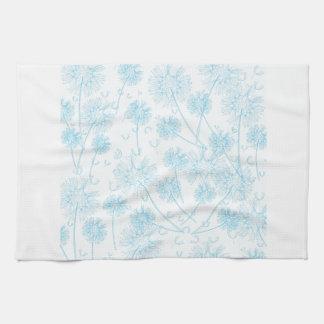 Elegant Soft Blue Dandelion Kitchen Towel