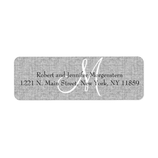 Elegant Soft Grey Linen Monogram Address Labels