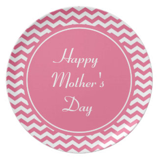 elegant, soft pink chevron happy mother's day party plate