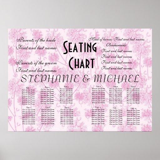 Elegant Soft Pink Dandelion Wedding Seating Chart Print