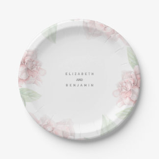 Elegant Soft Pink Floral Wreath Garden Wedding Paper Plate