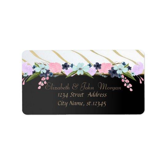 Elegant  Sophisticated, Black,Stripes,Flowers Label