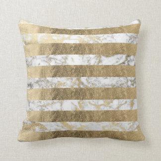 Elegant sophisticated faux gold marble stripes throw pillow