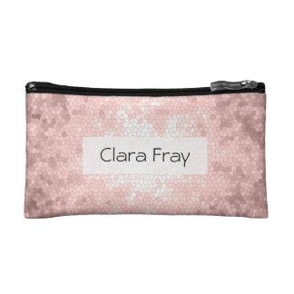 elegant sophisticated girly rose gold pattern makeup bag