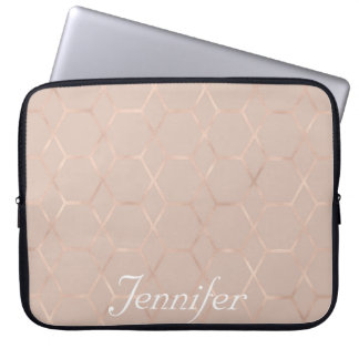 Elegant sophisticated rose gold personalized laptop sleeve