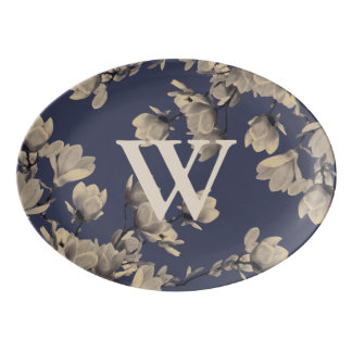 Elegant Southern Magnolias & Midnight Navy Blue Porcelain Serving Platter