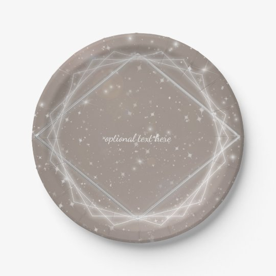 Elegant Sparkle Modern Geometric Glam Chic Party 7 Inch Paper Plate