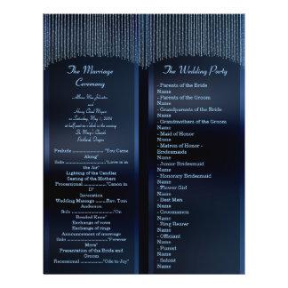 Elegant Sparkling Chains blue Wedding Programs