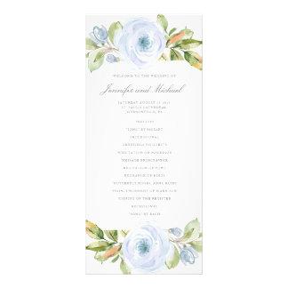 Elegant Spring Floral Dusty Blue Wedding Program