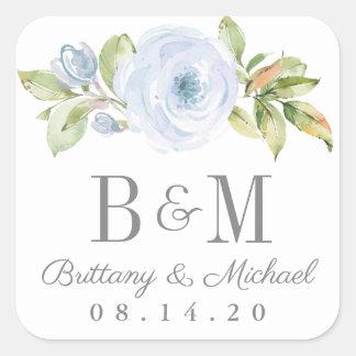 Elegant Spring Floral Dusty Blue Wedding Stickers