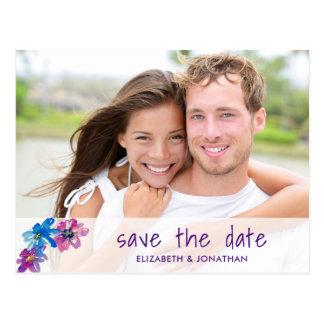 Elegant Spring Floral Purple Photo Save The Date Postcard