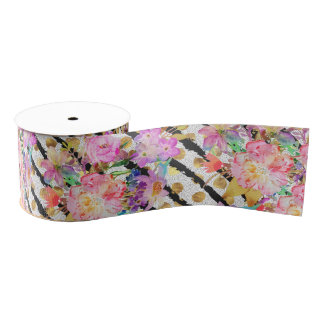 Elegant spring flowers and stripes design grosgrain ribbon