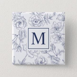 Elegant Spring Roses Monogram Pin Button