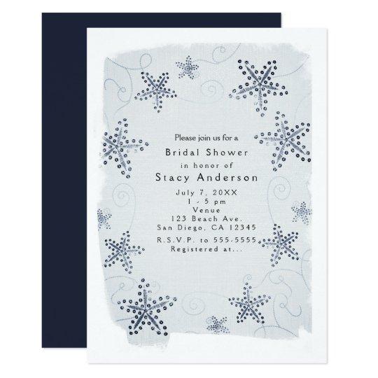 Elegant Starfish & Sequins Blue Beach Invitations