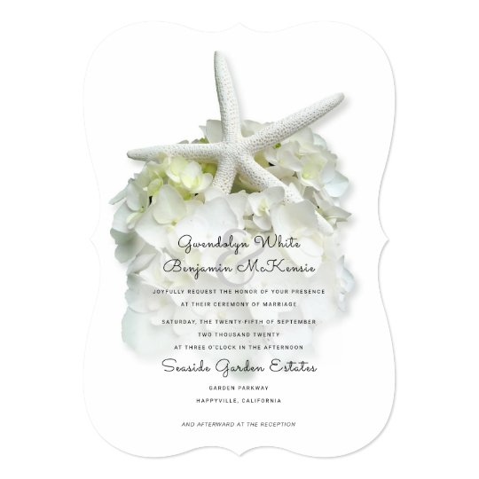 Elegant Starfish White Flower Wedding Invitation