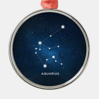 ELEGANT STARRY BLUE WATERCOLOR UNIVERSE - AQUARIUS Silver-Colored ROUND ORNAMENT
