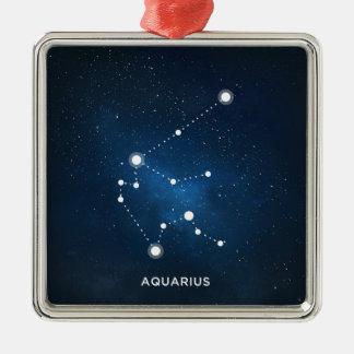 ELEGANT STARRY BLUE WATERCOLOR UNIVERSE - AQUARIUS Silver-Colored SQUARE ORNAMENT