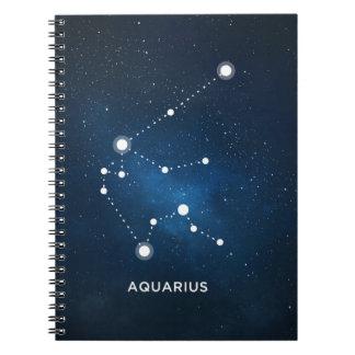 ELEGANT STARRY BLUE WATERCOLOR UNIVERSE - AQUARIUS SPIRAL NOTEBOOK