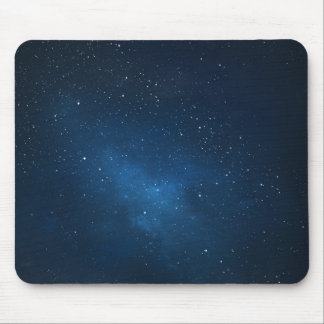ELEGANT STARRY BLUE WATERCOLOR UNIVERSE MOUSE PAD