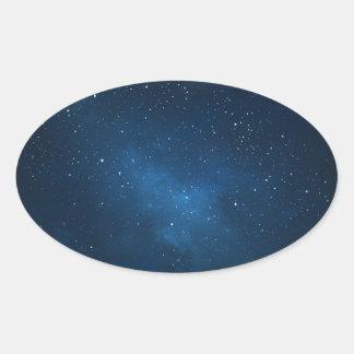 ELEGANT STARRY BLUE WATERCOLOR UNIVERSE OVAL STICKER