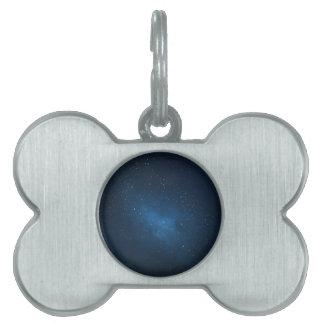 ELEGANT STARRY BLUE WATERCOLOR UNIVERSE PET TAG