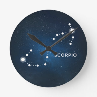 ELEGANT STARRY BLUE WATERCOLOR UNIVERSE - SCORPIO CLOCKS