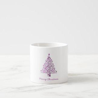 Elegant Starry Decorative Pink Christmas Tree Espresso Cup