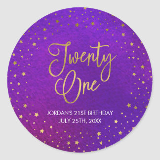 Elegant Starry Purple Watercolor 21st Birthday Classic Round Sticker