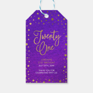 Elegant Starry Purple Watercolor 21st Birthday Pack Of Gift Tags