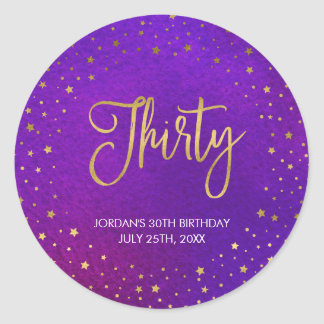 Elegant Starry Purple Watercolor 30th Birthday Classic Round Sticker