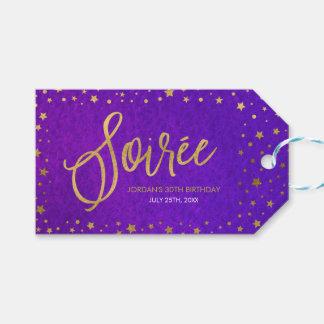 Elegant Starry Purple Watercolor Soiree Birthday Pack Of Gift Tags