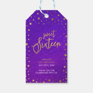 Elegant Starry Purple Watercolor Sweet 16 Birthday Pack Of Gift Tags