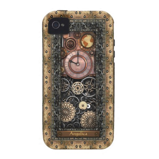 Elegant Steampunk Customizable Vibe iPhone 4 Cases