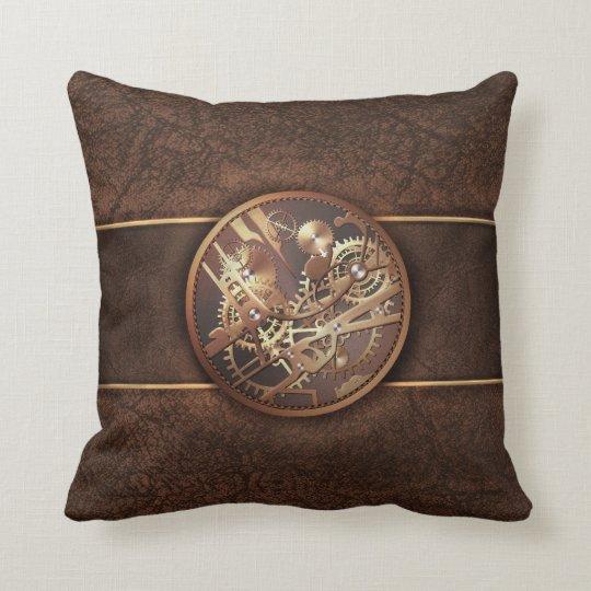 elegant steampunk gears gold brown throw pillow