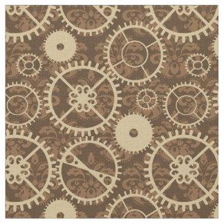 Elegant Steampunk watch gear and damask pattern Fabric