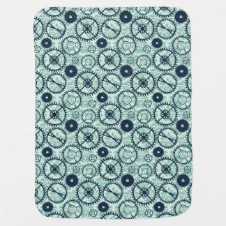 elegant Steampunk watch gear and damask pattern Stroller Blankets